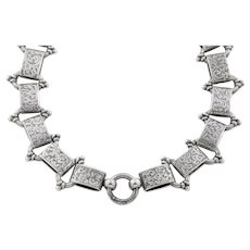 Gorgeous Engraved Silver Victorian Book Chain Necklace