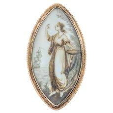 Georgian Gold Sepia Navette Brooch c.1790