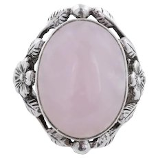 Arts and Crafts Era Silver Rose Quartz Ring