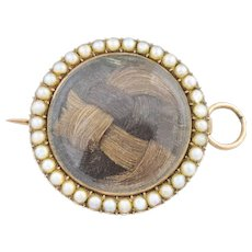 Antique Mourning Brooch Pendant