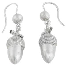Antique Silver Acorn Drop Earrings