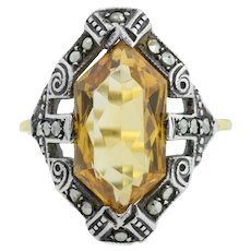 Art Deco Citrine Dress Ring