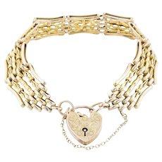 "Antique 9ct Gold Gate Bracelet, 7.3"" (21.2g)"