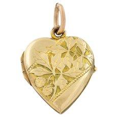 Art Nouveau 10ct Gold Heart Locket