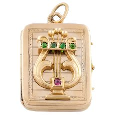 14ct Gold Antique Ruby and Garnet Russian Lyre Locket