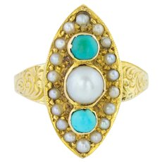 Stunning 15ct Gold Victorian Pearl and Turquoise Navette Shaped Ring