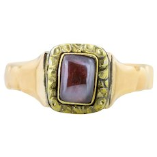 9ct Gold Early Victorian Square Garnet Cabochon Ring