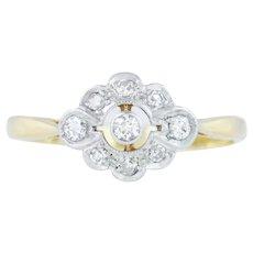 Antique 18ct Gold Diamond Cluster Ring (0.14ct)