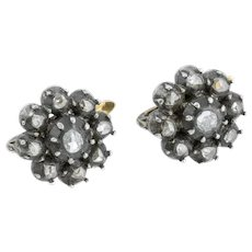 Victorian Diamond cluster earrings in 18ct Gold and Silver (0.66ct)