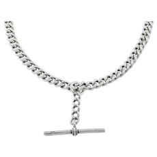 Heavy Silver Albert Chain T-bar Necklace c.1924