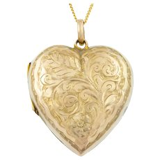 "Edwardian 9ct Gold Heart Locket, with 16"" Chain"
