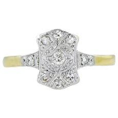 Art Deco Diamond Plaque Engagement Ring 0.10ct