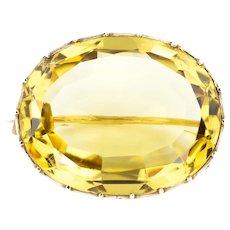 Antique 9ct Gold Citrine Brooch (30.08ct)