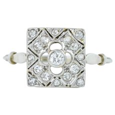 French Diamond Art Deco Panel Cluster Ring 0.26ct