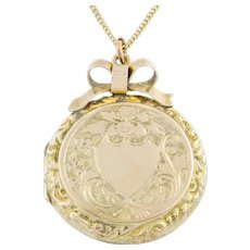 "Edwardian 9ct Gold Locket, 16"" Gold Chain"