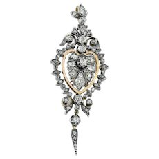 "Victorian Flaming Heart Diamond Pendant with Diamond ""Tassel"" 1.1ct"