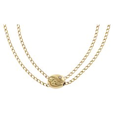Rare Antique Gold Double Chain with Slider and Dog-clip