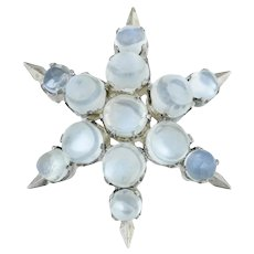 Silver Vintage Moonstone Star Brooch