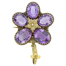 Large Antique Amethyst Pansy Brooch Pendant (36.80ct)
