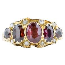 Antique 9ct Gold Five Stone Garnet Ring (1.32ct)