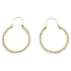 Antique 15ct Gold Pearl Hoop Earrings