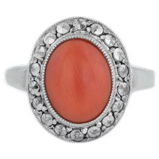 Silver Art Deco Marcasite and Coral Ring