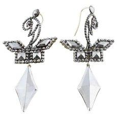 Georgian Cut Steel Earrings with 9ct Gold Hooks