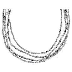 """Long Georgian Cut Steel Bead Necklace, 50"""""""
