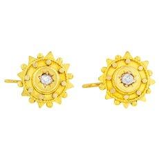 15ct Gold Victorian Diamond Etruscan Earrings
