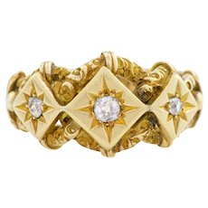 Superb 18ct Gold Victorian Diamond Knot Ring 0.14ct
