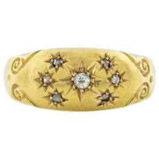 Antique 18ct Gold Diamond Gypsy Ring c.1904 (0.06ct)