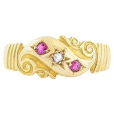 18ct Gold Antique Ruby Diamond Fancy Gypsy Ring