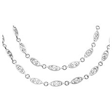 """Arts and Crafts Era Long Chain Necklace, 60"""""""