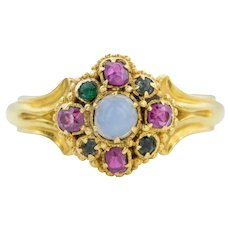 18ct Gold Victorian Opal and Ruby Cluster Ring