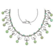 """Arts and Crafts Era Turquoise Fringe Necklace, 16.5"""""""