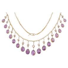"""Antique 15ct Gold Amethyst Rock Crystal Fringe Necklace (19.00ct), 16"""""""
