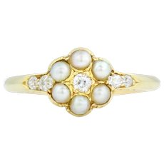 Victorian 18ct Gold Diamond and Pearl Cluster Ring