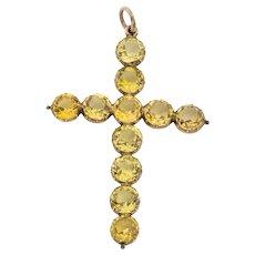 Georgian 15ct Gold Topaz Cross Pendant (16.83ct)