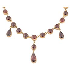 "Victorian Gold Garnet Riviere Necklace (20.64ct), 19"", with Original Box"