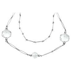 Art Deco Platinon Rock Crystal Necklace, 39""