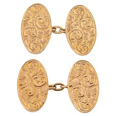Art Deco 9ct Gold Chased Cufflinks c.1921