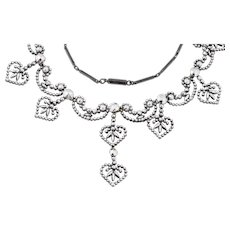 Antique Cut Steel Necklace with Heart Drops, 18""