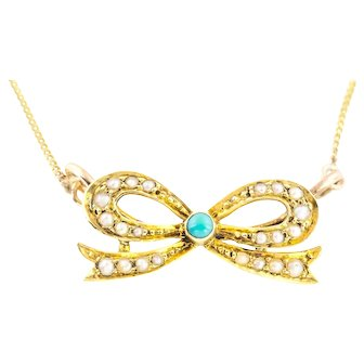 Antique 9ct Gold Turquoise & Pearl Bow Necklace c.1901