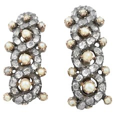 Two Georgian Rock Crystal & Pearl Sliders in Silver & 9ct Gold