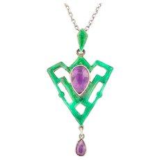 """Art Nouveau Silver Enamel Amethyst Pendant (2.06ct), with Antique 17"""" Chain"""