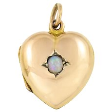 Antique 15ct Gold Opal Heart Locket