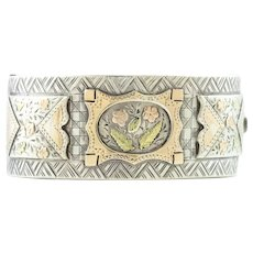 Victorian Silver Bangle with Rose and Yellow Gold flowers