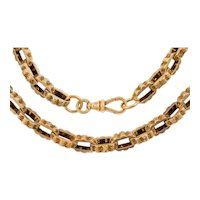 """17"""" Chunky Engraved 9ct Gold Albert Chain, (31.7g)"""