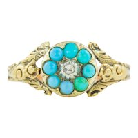 Antique 18ct Gold Turquoise Diamond Cluster Ring