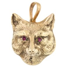 Antique Gold Fox Pendant with Ruby Eyes